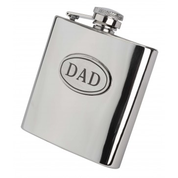 Personalised 6oz Dad Hip Flask With Captive Lid Engraved Free Perfume Sample