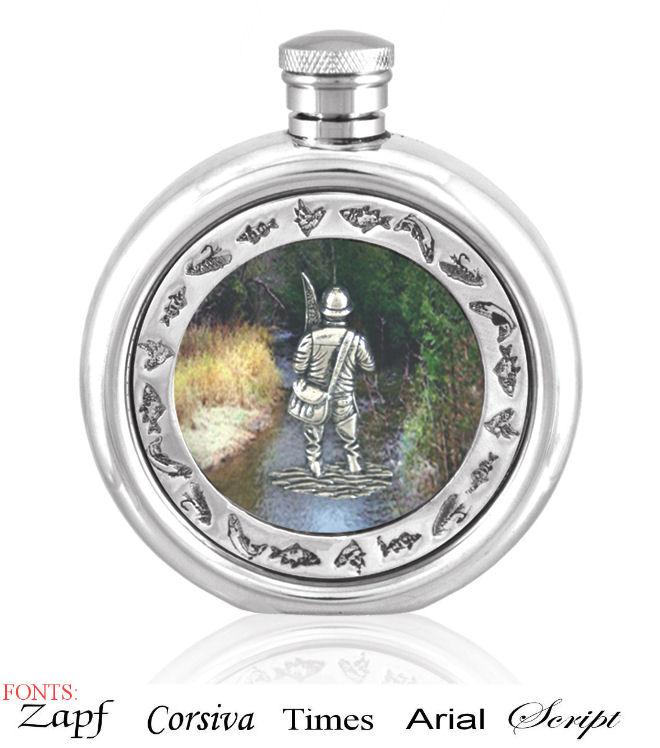 Personalised 6oz English Pewter Fly Fisherman Picture Hip Flask