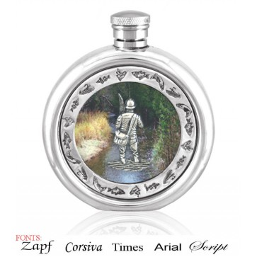 Personalised 6oz English Pewter Fly Fisherman Picture Hip Flask Perfume Sample