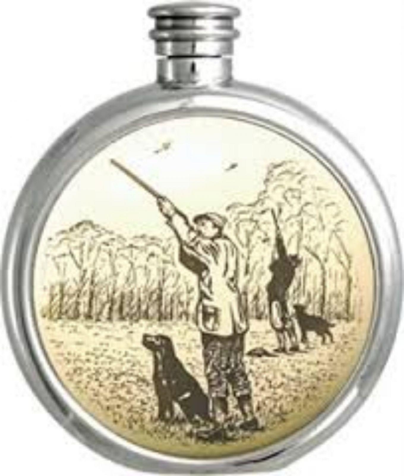 Personalised 6oz English Pewter Gun Dog Picture Hip Flask