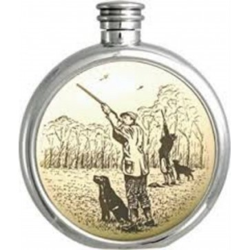 Personalised 6oz English Pewter Gun Dog Picture Hip Flask Perfume Sample