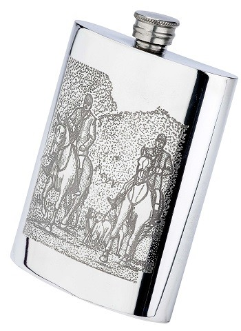 Personalised 6oz English Pewter Horse & Hounds Scene Hip Flask