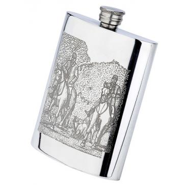 Personalised 6oz English Pewter Horse & Hounds Scene Hip Flask Perfume Sample