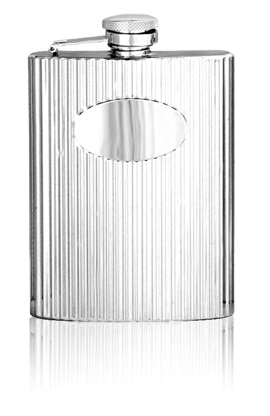 Personalised 6oz English Pewter Ribbed Hip Flask STF002