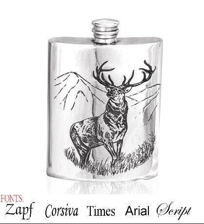 Personalised 6oz English Pewter Stag Hip Flask