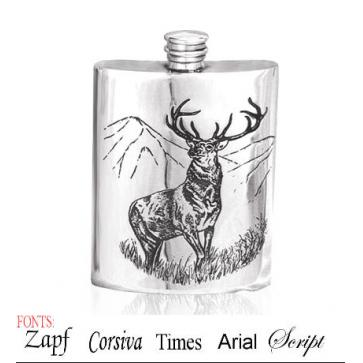 Personalised 6oz English Pewter Stag Hip Flask Perfume Sample