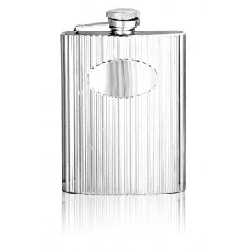 Personalised 6oz English Pewter Stainless Steel Ribbed Hip Flask STF002 Perfume Sample