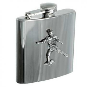 Personalised 6oz Football Stainless Steel Hip Flask Perfume Sample