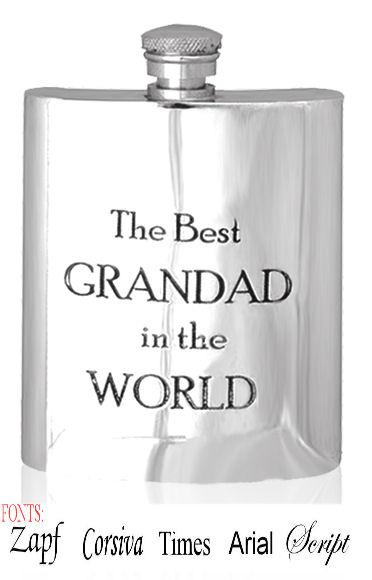 Personalised 6oz Grandad Hip Flask With Captive Lid Engraved Free