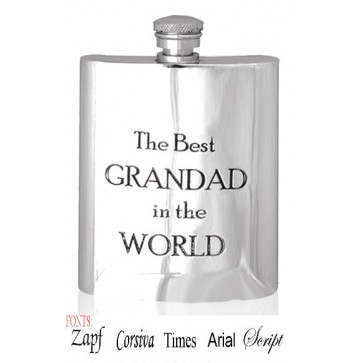 Personalised 6oz Grandad Hip Flask With Captive Lid Engraved Free Perfume Sample