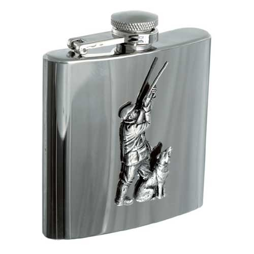 Personalised 6oz Hunter & Dog Stainless Steel Hip Flask