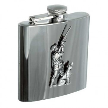 Personalised 6oz Hunter & Dog Stainless Steel Hip Flask Perfume Sample