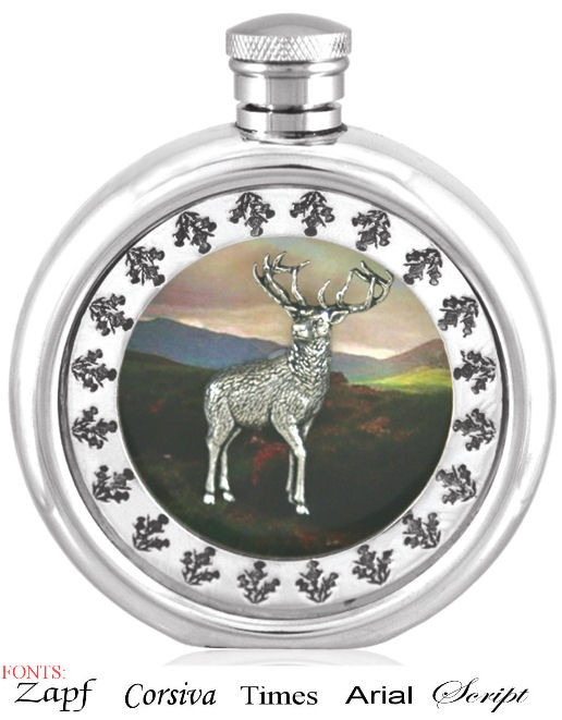 Personalised 6oz Piper Pewter Highland Stag Picture Hip Flask
