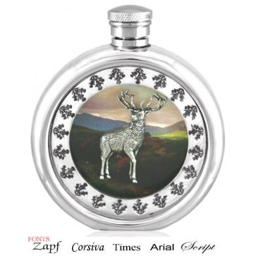 Personalised 6oz Piper Pewter Highland Stag Picture Hip Flask Perfume Sample