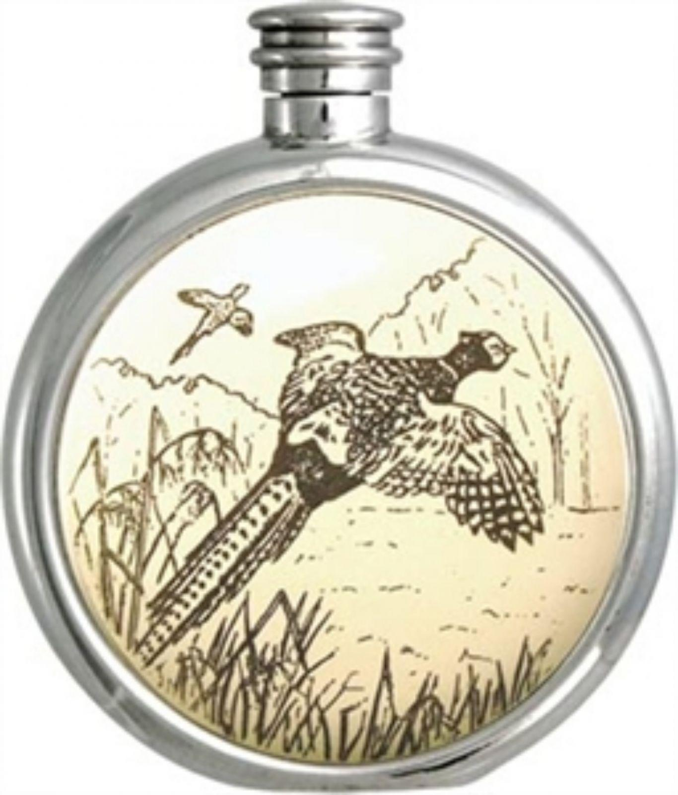 Personalised 6oz Piper Pewter Pheasant Picture Hip Flask