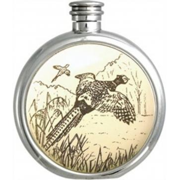 Personalised 6oz Piper Pewter Pheasant Picture Hip Flask Perfume Sample
