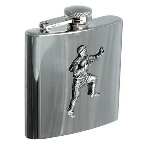 Personalised 6oz Rugby Player Stainless Steel Hip Flask