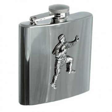 Personalised 6oz Rugby Player Stainless Steel Hip Flask Perfume Sample