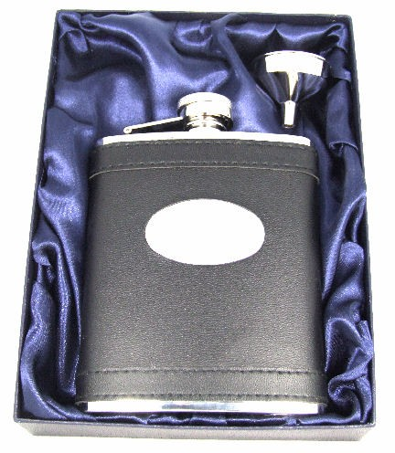 Personalised 6oz Stainless Steel Black Leather Hip Flask Gift Boxed