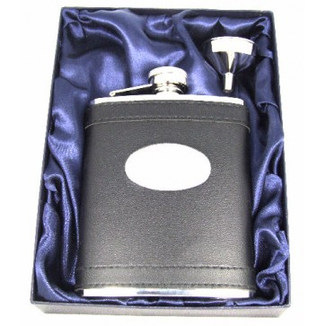 Personalised 6oz Stainless Steel Black Leather Hip Flask Gift Boxed Perfume Sample