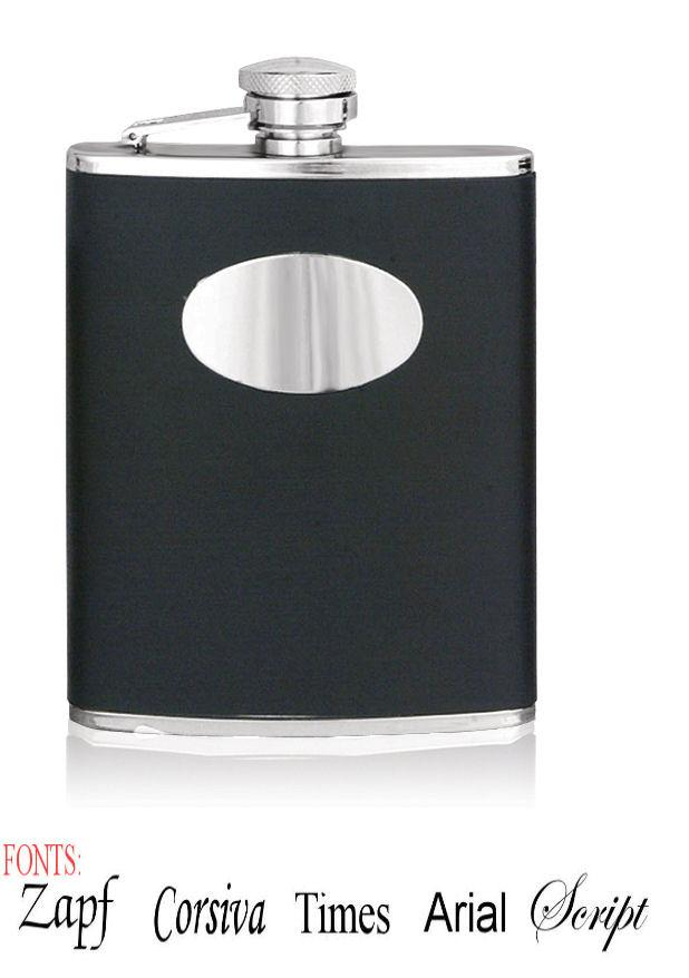 Personalised 6oz Stainless Steel Black Leather Hip Flask
