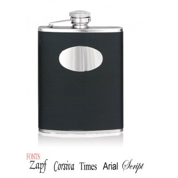 Personalised 6oz Stainless Steel Black Leather Hip Flask Perfume Sample