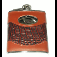 Personalised 6oz Stainless Steel Black & Tan Leather Hip Flask