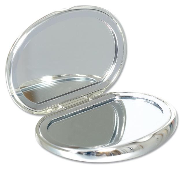Personalised Bean Shaped Compact Handbag Mirror Silver Plated