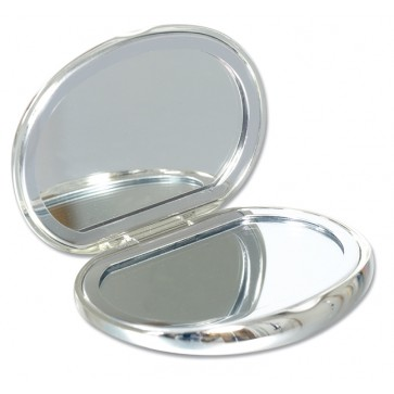 Personalised Bean Shaped Compact Handbag Mirror Silver Plated Perfume Sample