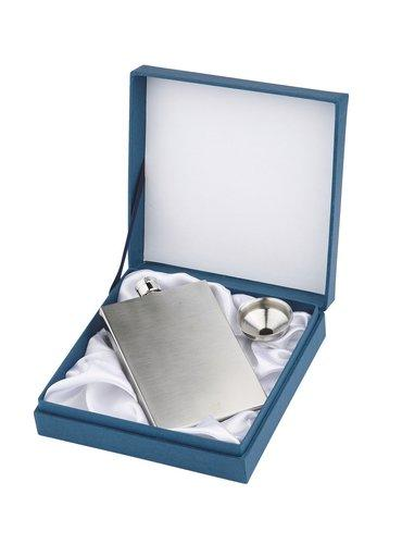 Personalised Brushed Stainless Steel Hipflask Square