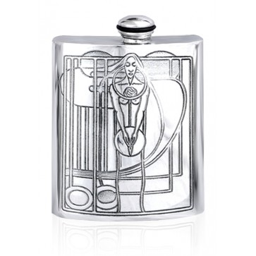 Personalised Charles Mackintosh 6oz English Pewter Hip Flask Perfume Sample