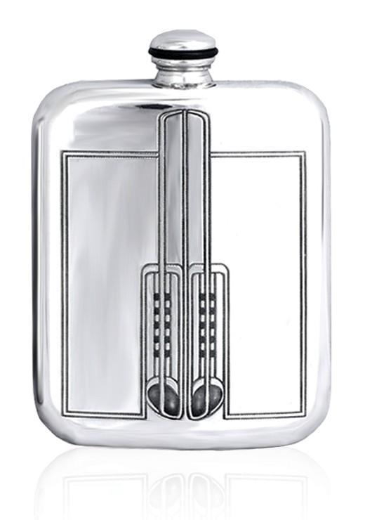 Personalised Charles Rennie Mackintosh 6oz English Pewter Hip Flask