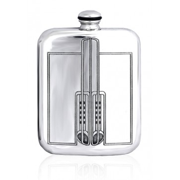 Personalised Charles Rennie Mackintosh 6oz English Pewter Hip Flask Perfume Sample