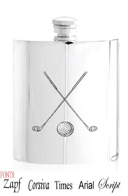 Personalised Crossed Golf Clubs 6oz English Pewter Hip Flask