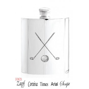 Personalised Crossed Golf Clubs 6oz English Pewter Hip Flask Perfume Sample