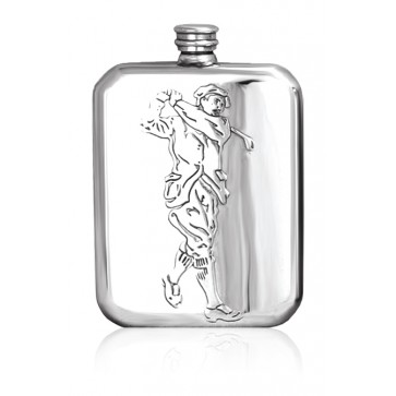 Personalised Golf 6oz English Pewter Hip Flask Perfume Sample