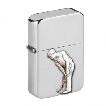 Personalised Golf Wind Proof Storm Petrol Lighter Engraved Free Perfume Sample