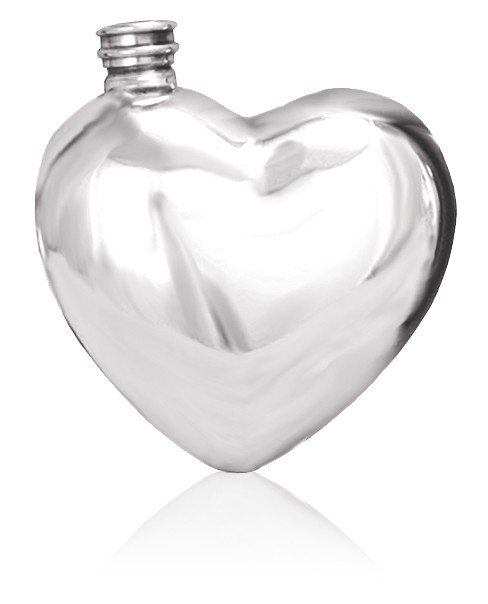 Personalised Heart  6oz English Pewter Hip Flask