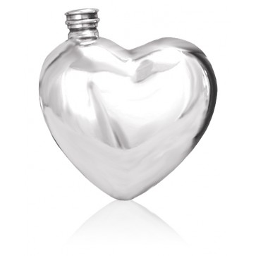 Personalised Heart  6oz English Pewter Hip Flask Perfume Sample