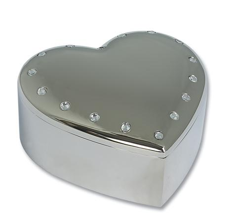 Personalised Heart Trinket Box With Crystals Silver Plated