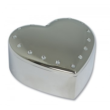 Personalised Heart Trinket Box With Crystals Silver Plated Perfume Sample
