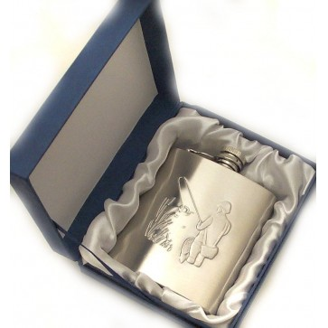 Personalised Hip Flask 6oz Fishing Perfume Sample