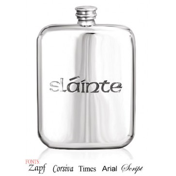 Personalised Irish Slainte Design 6oz English Pewter Hip Flask Perfume Sample