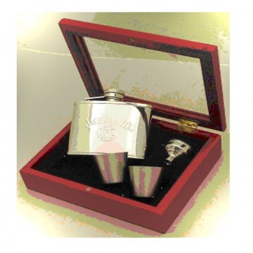 Personalised Jack Daniels Hip Flask & Wood Gift Box Set Perfume Sample