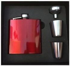 Personalised Laser Ready Red/Blue/Black Stainless Steel 6oz Hip Flask & Gift Box