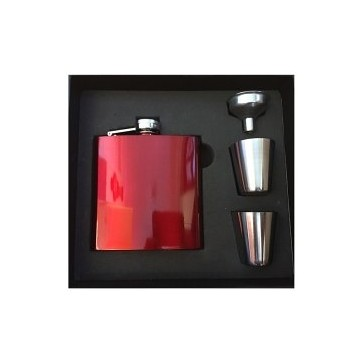 Personalised Laser Ready Red/Blue/Black Stainless Steel 6oz Hip Flask & Gift Box Perfume Sample