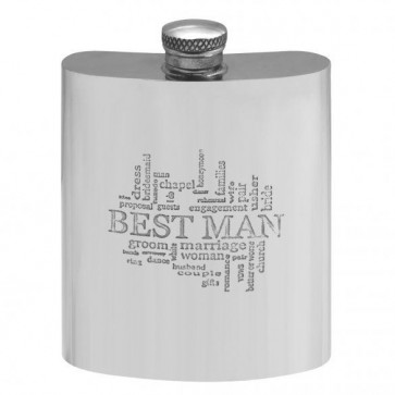 Personalised Pewter 6oz Best Man Hip Flask With Engraved Free Perfume Sample