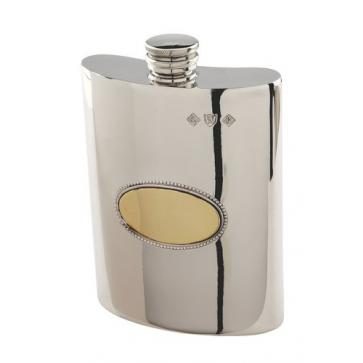 Personalised Pewter 6oz Hip Flask With Brass Oval Perfume Sample