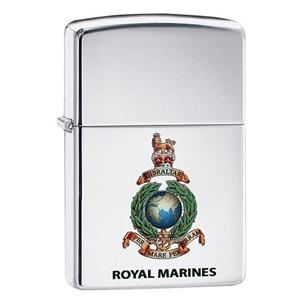 Personalised Royal Marines high polish chrome Genuine Zippo Lighter
