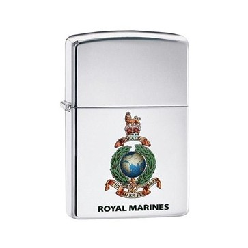 Personalised Royal Marines high polish chrome Genuine Zippo Lighter Perfume Sample